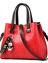 cheap -Women's Bear Faux Leather / PU Top Handle Bag Solid Color Black / Earth Yellow / Wine