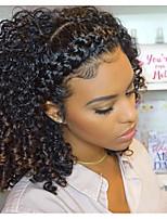 Недорогие -человеческие волосы Remy Натуральные волосы 360 Лобовой Парик Монгольские волосы Kinky Curly Черный Парик 150% 180% Плотность волос / Природные волосы / Парик в афро-американском стиле