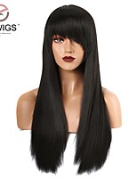 cheap -Synthetic Wig Women's Yaki Black With Ponytail 180% Density Synthetic Hair 22 inch Simple / Party / Women Black Wig Long Machine Made Natural Black EEWigs