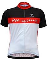 Недорогие -JESOCYCLING Муж. С короткими рукавами Велокофты - Красный / Белый Велоспорт Джерси Верхняя часть Быстровысыхающий Виды спорта 100% полиэстер Горные велосипеды Шоссейные велосипеды Одежда / Эластичная