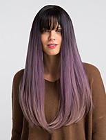 Недорогие -Парики из искусственных волос Жен. Естественный прямой Фиолетовый С чёлкой Искусственные волосы 22 дюймовый Модный дизайн / синтетический / Новое поступление Фиолетовый Парик Длинные