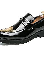 Недорогие -Муж. Официальная обувь Лакированная кожа Весна & осень На каждый день / Английский Мокасины и Свитер Нескользкий Золотой / Черный