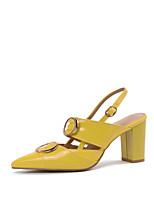abordables -Femme Cuir Verni Automne Chaussures à Talons Talon Bottier Bout pointu Jaune / Rouge / Amande / Soirée & Evénement