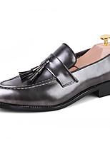 Недорогие -Муж. Официальная обувь Синтетика Весна & осень Деловые / Английский Мокасины и Свитер Нескользкий Серый / Коричневый / Винный