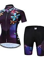 abordables -TELEYI Manches Courtes Maillot et Cuissard de Cyclisme - Noir Vélo Respirable, Séchage rapide Floral / Botanique / Elastique