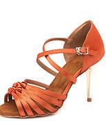 Недорогие -Жен. Обувь для латины Сатин Сандалии / Кроссовки Пряжки Тонкий высокий каблук Персонализируемая Танцевальная обувь Оранжевый