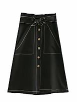 Недорогие -женские хлопчатобумажные миди линии юбки - сплошной цвет