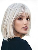Недорогие -Парики из искусственных волос Жен. Естественный прямой Белый Стрижка боб Искусственные волосы 12 дюймовый Модный дизайн / Новое поступление / Природные волосы Белый Парик Средняя длина