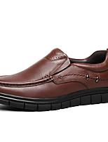 Недорогие -Муж. Кожаные ботинки Наппа Leather Весна & осень Классика / На каждый день Мокасины и Свитер Массаж Черный / Коричневый