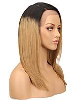 Недорогие -человеческие волосы Remy 360 Лобовой Парик Бразильские волосы Шелковисто-прямые Коричневый Парик Ассиметричная стрижка Боковая часть 130% Плотность волос Натуральный новый Удобный 100