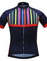 Недорогие -JESOCYCLING Жен. С короткими рукавами Велокофты - Темно-синий Велоспорт Джерси Верхняя часть, Быстровысыхающий 100% полиэстер / Эластичная