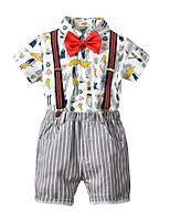 Недорогие -Дети Мальчики Классический С принтом С короткими рукавами Хлопок Набор одежды Белый