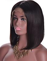 Недорогие -человеческие волосы Remy Лента спереди Парик Бразильские волосы Прямой Парик Стрижка боб Средняя часть 130% Плотность волос Природные волосы С отбеленными узлами Жен. Короткие