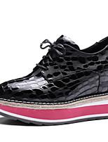 Недорогие -Жен. Наппа Leather Осень Милая / Минимализм Обувь на каблуках Туфли на танкетке Заостренный носок Черный