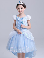 cheap -Cinderella Dress Masquerade Flower Girl Dress Girls' Movie Cosplay A-Line Slip Cosplay Halloween Light Blue Dress Halloween Carnival Masquerade Tulle Polyster