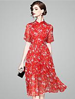 Недорогие -Жен. Для вечеринок Элегантный стиль Оболочка Платье С принтом Воротник-стойка Средней длины