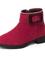 Недорогие -Девочки Обувь Замша Зима Модная обувь / Армейские ботинки Ботинки Стразы / Молнии для Дети Черный / Красный
