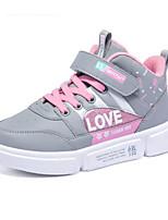 Недорогие -Девочки Обувь Кожа Зима Удобная обувь Кеды На липучках для Дети Серый / Персиковый / Розовый