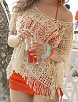 Недорогие -Жен. Богемный С открытыми плечами Бежевый Завышенная Накидка Купальники - Однотонный Один размер