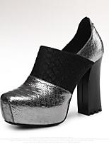 Недорогие -Жен. Наппа Leather / Овчина Осень Обувь на каблуках На толстом каблуке Черный / Серебряный