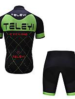 Недорогие -TELEYI С короткими рукавами Велокофты и велошорты - Зеленый / черный Велоспорт Быстровысыхающий Клетки / Эластичная
