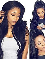 Недорогие -Натуральные волосы 360 Лобовой Парик Бразильские волосы Естественные кудри Парик 150% Плотность волос с детскими волосами Для темнокожих женщин 100% девственница Необработанные С отбеленными узлами