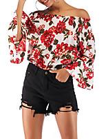 Недорогие -женская блузка - цветочная с плеча