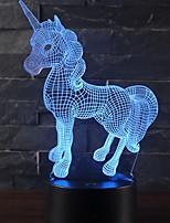 abordables -Belle licorne cadeau romantique 3d led lampe de table 7 changement de couleur nuit lumière chambre décor lustre vacances petite amie enfants jouets