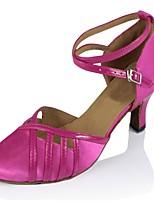 Недорогие -Жен. Обувь для латины Сатин На каблуках Планка Кубинский каблук Персонализируемая Танцевальная обувь Верблюжий / Пурпурный