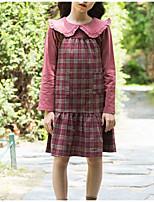 Недорогие -Дети Девочки Классический Однотонный Длинный рукав Платье Коричневый