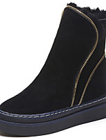 Недорогие -Жен. Замша Зима На каждый день Ботинки На плоской подошве Круглый носок Сапоги до середины икры Черный / Коричневый