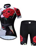 Недорогие -TELEYI С короткими рукавами Велокофты и велошорты - Красный Велоспорт Быстровысыхающий Цветочные / ботанический / Эластичная