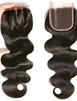 Недорогие -Монгольские волосы 4x4 Закрытие / Бесплатно Part Волнистый Бесплатный Часть Швейцарское кружево Натуральные волосы Жен. Гладкие / Натуральный / обожаемый / Черный