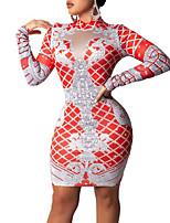 Недорогие -Жен. Классический Оболочка Платье - Геометрический принт, С принтом Выше колена