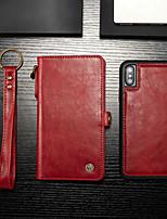 abordables -CaseMe Coque Pour Apple iPhone X / iPhone XS Portefeuille / Porte Carte / Avec Support Coque Intégrale Couleur Pleine Dur faux cuir pour iPhone XS / iPhone X