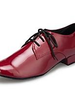 Недорогие -Муж. Обувь для латины Полиуретан На каблуках Планка Толстая каблук Персонализируемая Танцевальная обувь Красный