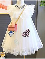 Недорогие -Дети (1-4 лет) Девочки Активный Повседневные Однотонный / Геометрический принт Без рукавов До колена Платье Белый