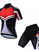 Недорогие -TELEYI С короткими рукавами Велокофты и велошорты - Черный / красный Велоспорт Однотонный / Эластичная