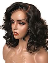 Недорогие -человеческие волосы Remy Лента спереди Парик Стрижка боб Стрижка каскад Короткий Боб Kardashian стиль Бразильские волосы Волнистый Черный Парик 130% Плотность волос / Природные волосы