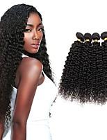 Недорогие -4 Связки Индийские волосы Kinky Curly Натуральные волосы Человека ткет Волосы / Пучок волос / One Pack Solution 8-28 дюймовый Естественный цвет Ткет человеческих волос Машинное плетение