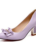 Недорогие -Жен. Полиуретан Весна Обувь на каблуках На толстом каблуке Белый / Черный / Лиловый