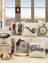 abordables -1 pcs Coton / Lin Taie d'oreiller / Housse de coussin, Classique / Britannique / Noir & blanc Traditionnel / Vintage / Style artistique