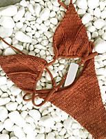 Недорогие -Жен. Классический Оранжевый Серый Военно-зеленный Стринги Танкини Купальники - Однотонный S M L