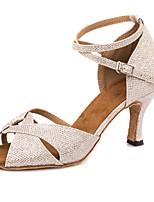 Недорогие -Жен. Обувь для латины Синтетика На каблуках / Кроссовки Пряжки / Блеск Тонкий высокий каблук Персонализируемая Танцевальная обувь Светло-желтый / Темно-зеленый