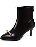 Недорогие -Жен. Наппа Leather Осень Ботинки На шпильке Закрытый мыс Ботинки Черный / Винный