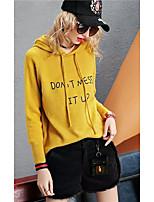 baratos -hoodie magro da luva longa das mulheres - letra v pescoço luz azul de um tamanho