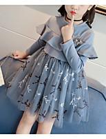 Недорогие -Дети Девочки Милая Повседневные Цветочный принт Сетка Длинный рукав До колена Платье Синий