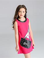 Недорогие -Дети Девочки Классический Повседневные Однотонный Без рукавов Платье Белый