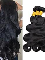 Недорогие -3 Связки Волнистый Натуральные волосы Необработанные натуральные волосы Человека ткет Волосы Удлинитель Пучок волос 8-28 дюймовый Естественный цвет Ткет человеческих волос / Шелковые базовые волосы