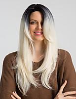 Недорогие -Парики из искусственных волос Жен. Кудрявый / Естественный прямой Черный Боковая часть Искусственные волосы 24 дюймовый Модный дизайн / Новое поступление / Градиент цвета Черный / Белый Парик Длинные